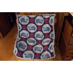 Whales Baby Fleece Blanket with Crocheted Edging Baby Shower Gift Mom to be Gift Newborn Gift
