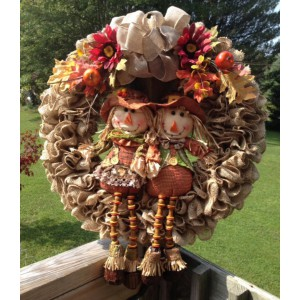 Large Scarecrow Love Burlap Ruffle Wreath