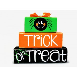 Halloween Trick Or Treat Spider WoodenBlock Shelf Sitter Stack October 31 Mantel Office Wreath