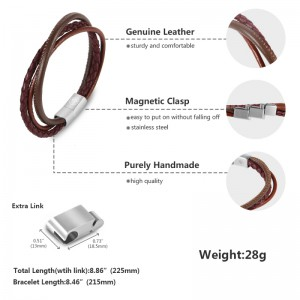 Mens Leather Bracelet – Multi-Layer Braided Black & Brown Cuff Bracelet with Size Adjustable Engraved Magnetic Clasp Free Jewelry Gift Boxed