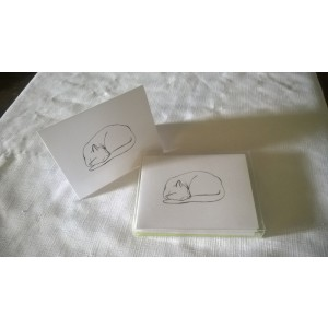 "Sleeping Cat ""Naptime"" by J. Renner Boxed Set of 5 Black and White Blank Notecards w/Envelopes"