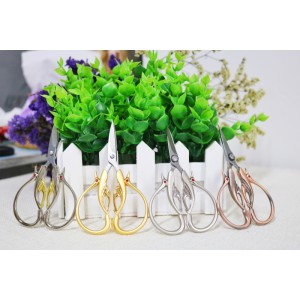 Fancy Stainless Steel Stitching Tools Sewing Embroidery Swan Scissors - Gold