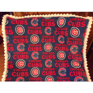Chicago Cubs Baby Fleece Blanket with Crochet Edging Crib Blanket Baby Carriage Blanket