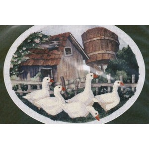 Crewel Kit, Hand Embroidery Kit, Simplicity Stitchery Crewel Kit, Gone A Calling, Ducks Farm Scene, Embroidery Kit