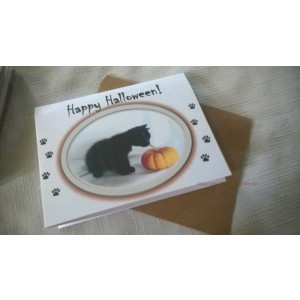 Happy Halloween! Black Kitten w/Pumpkin by J. Renner Boxed Set of 5 Blank Notecards w/Envelopes