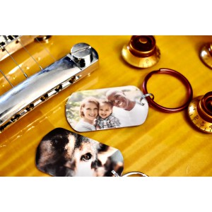 Personalized text or photo key chain, Metal and wooden key chain, birthday and anniversary key chain, handwriting text key chain