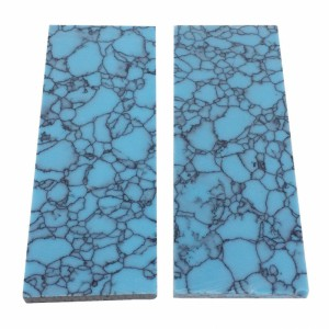 Reconstitute BLUE NET Arizona Turquoise Resin Recon Stone Knife Handle Blank Scales Slab
