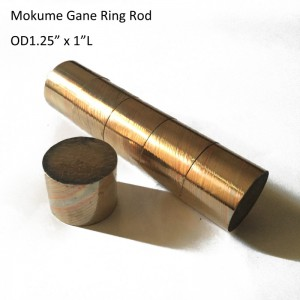 "OD1.25"" x 1"" L Damascus Mokume Gane Twist Pattern Round Rod for Wedding Ring"