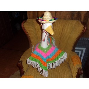 Mexican Poncho and Sombrero Geese Outfit Garden Statue Clothes Goose Clothes