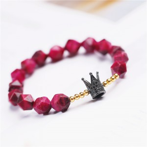 Faceted Red Tiger Eyes Beads with Sterling Silver Crown Beaded Wrap Bracelet