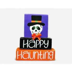 Happy Haunting Halloween Skull WoodenBlock Shelf Sitter Stack