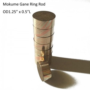 "OD1.25"" x 0.5""L Damascus Mokume Gane Twist Pattern Round Rod for Wedding Ring"