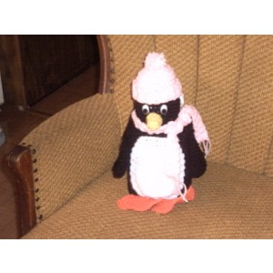 Penguin Tissue Box Cover Crochet Bathroom Decor Bath Accessory