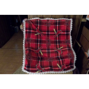 STL Cardinal Baseball Plaid Baby Fleece Blanket with Crochet Edging Car Seat Cover Crib Cover