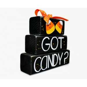 Halloween Candy Corn Got Candy WoodenBlock Shelf Sitter Stack Mantel Office October 31 Black Orange