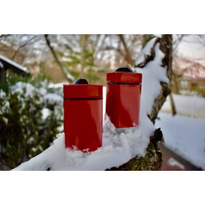 Cube design, salt & peppr set,3 Adjustable pour holes, red, set of 2 with or without rack, elegant stainless steel with glass bottom