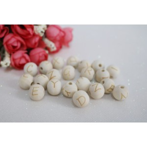 14 mm Alphabet Cube Baby Teething Necklace Bracelet Natural Wooden Letter Beads - 100 pcs