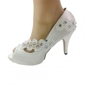 Handmade Women Peep Toe White Light   lace Crystal Wedding Shoes Bridal Heels Pumps  size 35-41