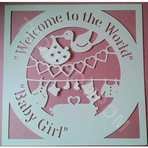 Welcome to the World Baby Girl Birth Announcement Papercut, SVG Cutting File Frame,Design Template, Papercutting, Card Making,Digital Upload