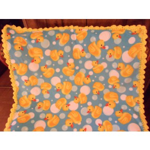 Rubber Ducks with Bubbles Baby Fleece Blanket with Crochet Edging Baby Shower Gift Mom to Be Gift