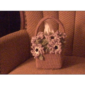 Flower Basket Tissue Box Cover Crochet Bath Accessory Bathroom Decor