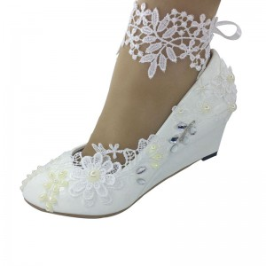 white crystal lace anklet flower Wedding Shoes Flats girls princess Shoes