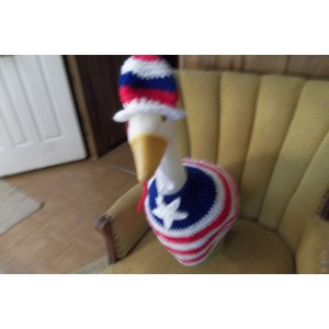 July 4th Girl Geese Goose Outfit Crochet Lawn Ornament Decor Garden Decor Outdoor Patio Decor Patriotic Decor Red White Blue Decor