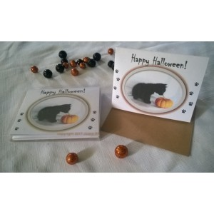 Happy Halloween! Black Kitten w/Pumpkin Boxed Set of 5 Blank Notecards w/Envelopes