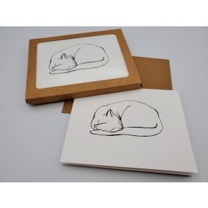 "White Sleeping Cat ""Naptime"" Set of 5 Blank Notecards Boxed"