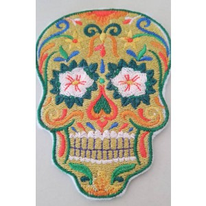 Sugar Skull Patch, Iron On Patch, Dia De Los Muertes, Day of the Dead, Skull Decor, Sew On Patch, Embroidered Skull