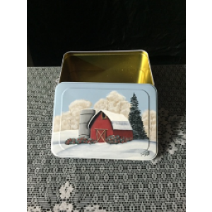 Tin with Winter Barn Scene