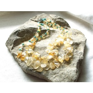 Sale. Chunky jewelry, double strand citrine and turquoise howlitenecklace. Semiprecious gemstone jewelry, yellow citrine, , USA