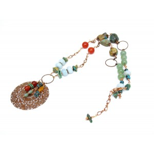 Southwestern style mixed gemstone necklace with copper, realturquoise, carnelian, amazonite and aventurine. Adjustable length