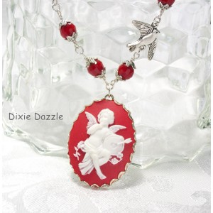 Valentine necklace with cupid cameo, bird and crystal, freeearrings. Valentine's Day gift set, cameo jewelry