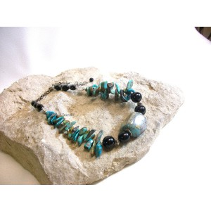 Rustic natural turquoise with black onyx necklace. Natural stonejewelry, made in USA by Dixie Dazzle. Adjustable length