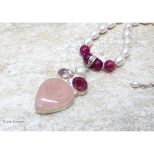 Rose quartz sterling silver plated pendant with agate andfreshwater pearls. Elegant pearl necklace with gemstone pendant