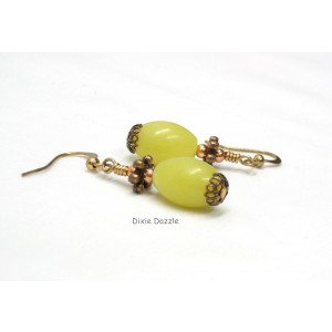 Lemon jade and copper pierced earrings, copper earrings withsemiprecious lemon jade. Handcrafted in Tennessee by Dixie Dazz