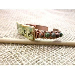 Wire wrapped antiqued copper cuff with stoneware clay and unakite,boho peace adjustable cuff bracelet by Dixie Dazzle