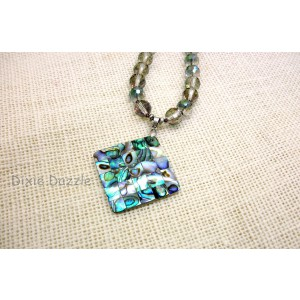 Beach jewelry, inlaid abalone shell pendant in blue and green withfaceted iridescent crystals. Made in USA by Dixie Dazzle