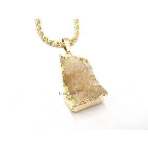 Gold dipped Quartz druzy pendant with vintage chain (1990's).Simple and elegant champagne colored quartz, natural gemstone