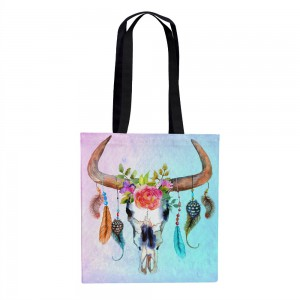 Bull Skull Tote Bag Over Sized 18