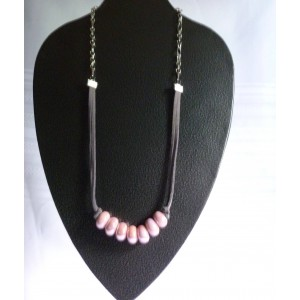 Pink/Gray Beaded Suede Necklace