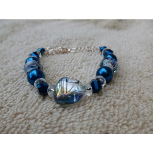 Blue/Clear Beaded Bracelet