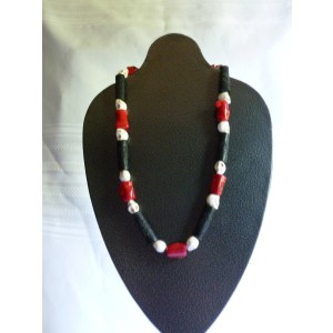 Red/Black/White Skull Necklace