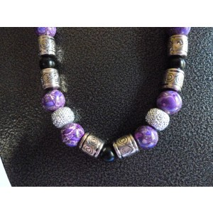Purple/Silver/Black Beaded Necklace