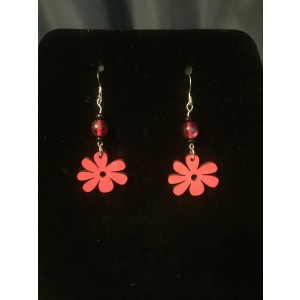 Magenta Flower Dangle Earrings