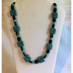Teal/Turquoise/Black Square Beaded Necklace