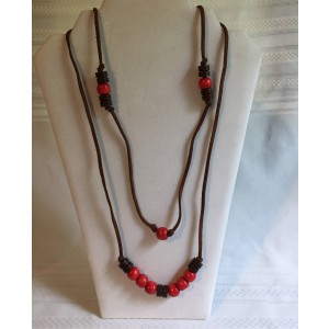 Red,Brown and Tan Wood Bead Necklace