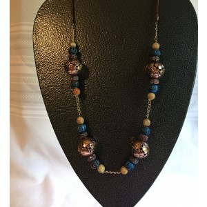 Cooper/Blue and Suede Beaded Necklace