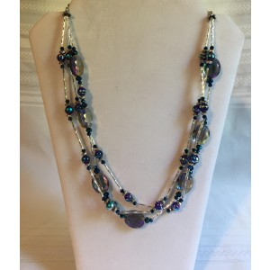 Smokey Blue/Clear Three Tier Beaded Necklace